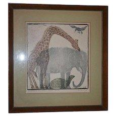 Philadelphia Modernist Helen Siegl Original Woodcut The Birds The Beasts Book Cover Art Signed