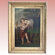 Huge Museum Worthy Saint John With The Lamb Antique Oil Painting After Murillo 19th Century Easter Christian Catholic Art