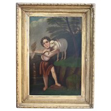 Museum Worthy Saint John With The Lamb Superb Antique Oil Painting American School After Murillo 19th Century Easter Christian Catholic Art