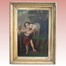 Large Old Master Saint John With The Lamb Antique Oil Painting After Murillo 18th - 19th Century Christmas Christian Catholic Art Museum Worthy