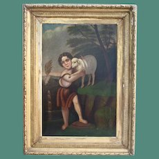 Large Old Master Saint John With The Lamb Antique Oil Painting After Murillo 18th - 19th Century Christian Catholic Art Museum Worthy