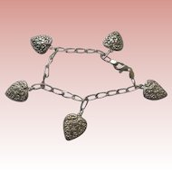 925 Hearts Charm Bracelet Solid Sterling Silver