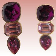Pink & Red NYC Mary Frost Faceted Rhinestone Drop Earrings
