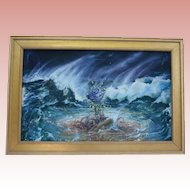 Listed Artists Stepanek & Maslin 1980s NYC Gallery Provenance - Collaborative Oil Painting Blue Rose in Ocean Waves