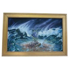 Blue Rose in Ocean Waves ~ Listed Artists Stepanek & Maslin ~1980s NYC Gallery Provenance - Collaborative Oil Painting Surrealism~ European  Artists