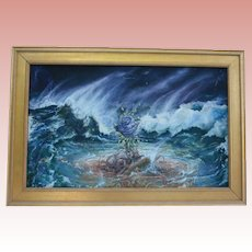 Blue Rose Surving The Storm (Germany/ England) Listed Artists Alice Stepanek & Steven Maslin 1980s NYC Gallery Provenance Oil Painting Collaborative Oil Painting Surrealist