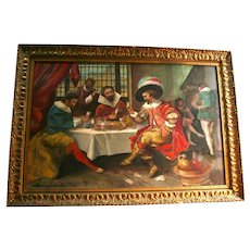 The Three Musketeers French Tavern Scene Playing Cards Large Original European Oil Painting Signed