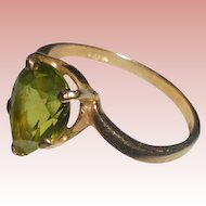 14K Peridot Signed Esemco Modernist Ring Size 6 TCW .90