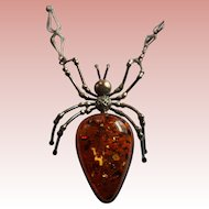 Giant Baltic Amber Sterling Silver Bib Pendant Jelly Belly Spider Insect Necklace with Inclusions