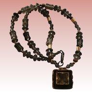 Avi Soffer Sterling Silver Gemstone 14k Gold Overlay Pendant Necklace Israel Modernist Designer Signed