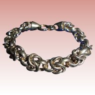 "Sterling Silver Italy Chunky Fancy Link Solid Sterling Silver Bracelet 7""5/8 length"