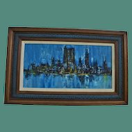 Mid Century New York Skyline Abstract Oil Painting c1960's Signed Illegible MCM Modern