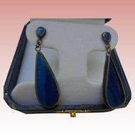 Sterling Silver Lapis Lazuli Inlaid Dangle Earrings