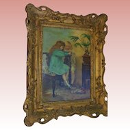 Signed Antique Oil Painting Little Girls Children Portrait in Gilt Frame