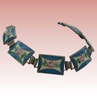 Sterling Silver Guilloche Enamel Roses Blue White Pink Panelled  Bracelet