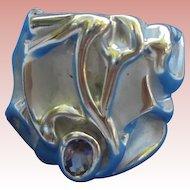 18K GE Chunky Ring Amethyst Stone Size 7 3/4