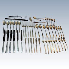 Complete Sterling Silver Easterling Horizon Flatware Service for 6 plus Serving Pieces in Wood Chest 53 Pc