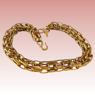 Rare Gloria Sachs Chunky Gold-tone Reticulated Necklace