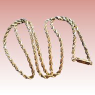 14K Gold Italy Rope Chain Necklace with Safety Catch Yellow Gold