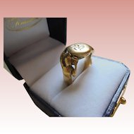 14K Mens Antique Female Figures Gold Art Nouveau Mens Ring Bacchus Mermaids with Signet Symbols Size 9.5