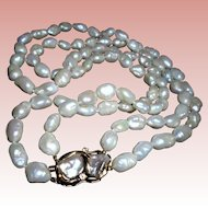 Mid-Century 14K Designer Signed Baroque South Sea Cultured Pearl Necklace with Diamond Clasp
