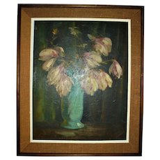 Famed Pittsburg Artist Vincent Nesbert Oil Painting Still Life Polish American WPA Era Listed Artist