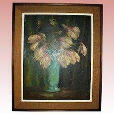 Famed Pittsburg Artist Vincent Nesbert Oil Painting Still Life Polish American WPA Era Listed Artist