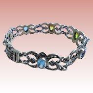 Vintage 925 Marcasite Filigree Sterling Silver & Gemstone Link Bracelet