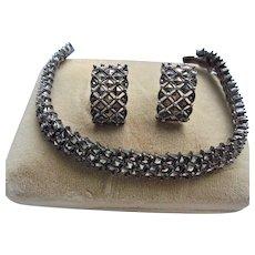Beautiful 925 Marcasite Sterling Silver Bracelet & Earrings Set Pierced