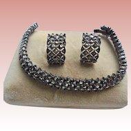 Vintage 925 Marcasite Sterling Silver Bracelet & Earrings Set Pierced
