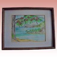 "St Lucia ""Diamond Rock"" Original Watercolor Seascape Painting by Carol P. Hine US Virgin Islands Artist"