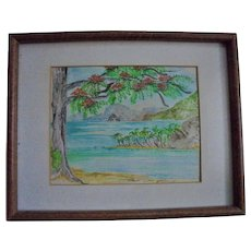 "St Lucia ""Diamond Rock"" Original Watercolor Seascape Painting by Carol P. Hine US Virgin Islands Artist"