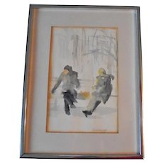 Impressionist Watercolor Painting Figures Sitting on Bench