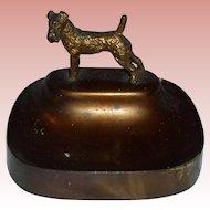 Airedale Terrier Art Deco Card Holder Tray Dog Bronze Vintage Metalware