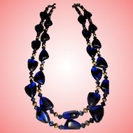 Blue Hearts Matte Glass Double Strand Beautiful Necklace