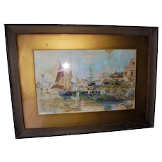 Venice Harbor Watercolor Gouache Seascape Painting Early 20th Century Impressionism
