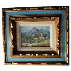 """""""Country Castle"""" Oil Painting Miniature Landscape by Jean Smith Ornate Carved Wood Frame"""