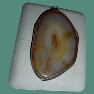 Chunky Sterling Silver & Agate Slice Smooth Pendant Modernist MCM
