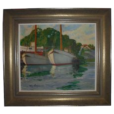 Olle Skogman (Sweden 1878-1968) Original Oil Painting Boats in Harbor Seascape Swedish Listed Artist