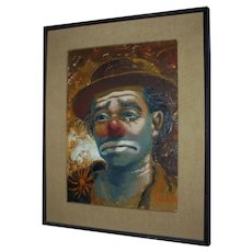 "California Listed Artist William Persona ""Clown"" Original  Oil Painting"