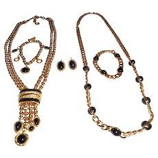 Rare 5 Piece Monet Interchangeable Necklace Bracelet Earrings Set Double Parure