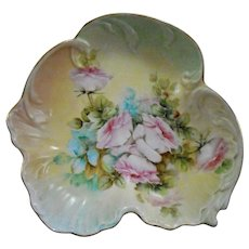 Antique Hand Painted Porcelain Bowl Beautiful Pink Roses
