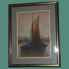 Brooklyn Harbor Scene Pastel Marine Seascape Original Painting NY Sailboats