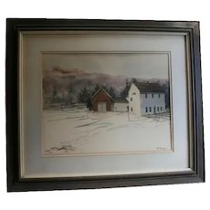 "Robert Frost Al Barker NYC Salmagundi Club Provenance 1973 Original Watercolor""Winter Barns"" Farm Derry New Hampshire"