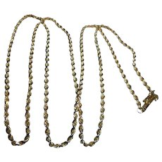 "14K Solid Gold Braided Rope Chain Necklace with Safety Catch 24"" inch"
