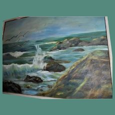 Seascape Oil Painting Crashing Ocean Waves Manner of Alfred Thompson Bricher