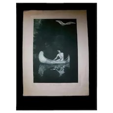 "George De Forest Brush ""The Silence Broken"" Rare Photogravure Early 20th Cent Native American Subject"