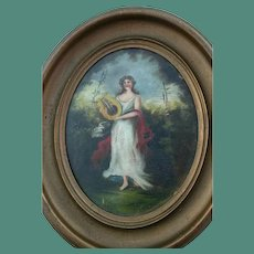 1860's Antique Oil Painting Portrait Young Woman Playing Harp Oval Frame Music Fine Art Musician