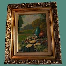 Floral Garden Scene Original Landscape Oil Painting in Ornate Gilt Frame Fashion Hat Signed