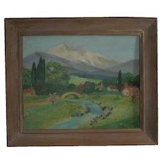 Carmel California Artist Ida Maynard Curtis (1860-1959) Original Oil Painting Plein Air Mountain Landscape
